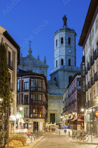 Spain, Castile and Leon, Valladolid, City street with Cathedral of Valladolid in background