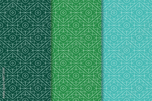 Poster Artificiel Geometric backgrounds. Green abstract seamless patterns
