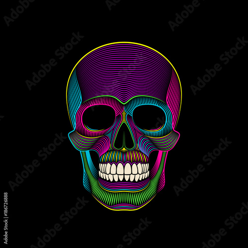 Graphic print of psychedelic skull engraved. Wallpaper Mural