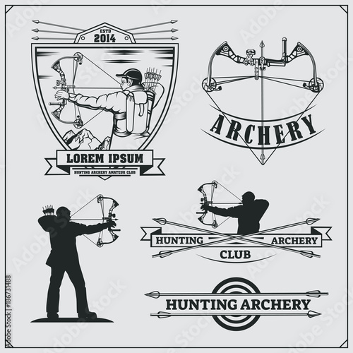 Set of archery sports emblems, labels and design elements Canvas Print