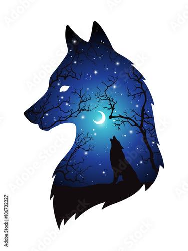 Fototapeta premium Podwójna ekspozycja sylwetka wilka w nocnym lesie, błękitne niebo z półksiężycem i gwiazdami na białym tle. Ilustracja wektorowa projekt naklejki, druku lub tatuażu. Pogański totem, wiccanowska sztuka chowańca
