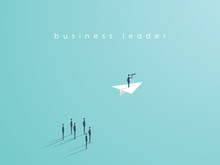 Business Leadership Concept With Businessman Flying On A Paper Plane As Symbol Of Success, Ambition, Inspiration.