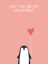 Valentine Card Vector Template With Cute, Adorable Penguin Holding Heart. Romantic, Delightful Cartoon Background.