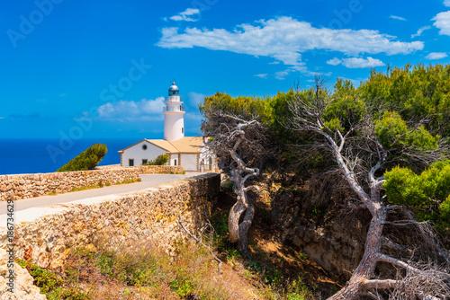 Montage in der Fensternische Leuchtturm Capdepera Lighthouse in Mallorca Spain