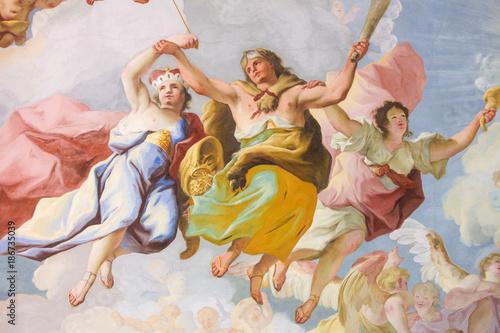 fototapeta na lodówkę Allegorical Representation of Courage - Fresco in Stift Melk, Austria