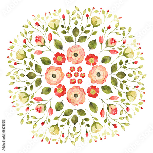 Watercolor floral mandala Wallpaper Mural