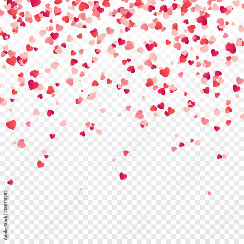 Heart Confetti Valentines Womens Mothers Day Background With Falling Red And Pink Paper