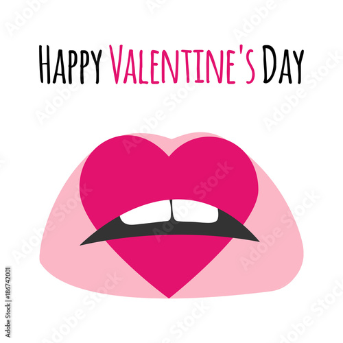 Pink Lips With Print Of Heart Happy Valentine S Day Lettering Text