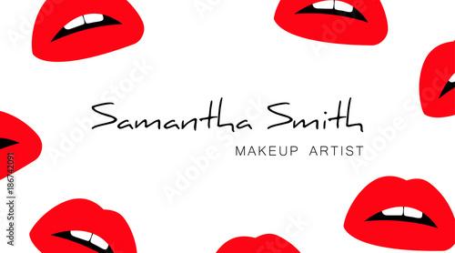 Makeup artist business card template with a red silhouette of open makeup artist business card template with a red silhouette of open lips with teeth print maxwellsz