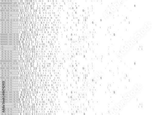 Fototapety, obrazy: Binary Computer Code. Abstract technology background. Digital binary data. Matrix, data, coding. Vector.