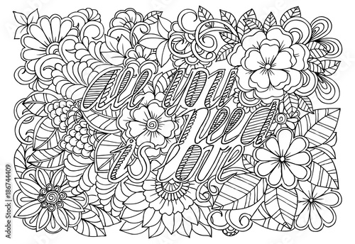 Photo  Black and white flower pattern for adult coloring book
