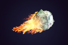 Fire Money Ball Of Dollar Bill...