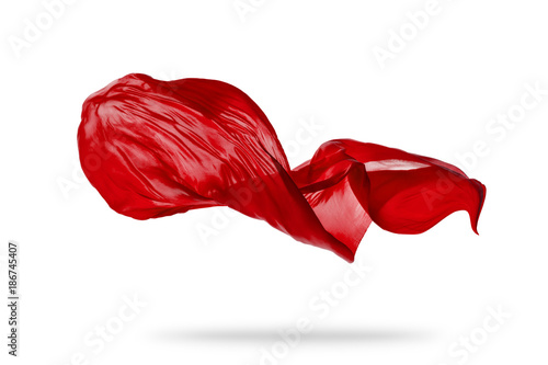 Fotografie, Obraz  Smooth elegant red cloth isolated on white background