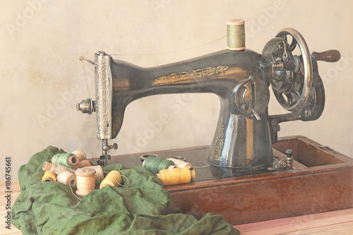 Old Sewing Machine Fabric And Sewing Thread In Vintage Style Buy Mesmerizing How To Thread An Old Sewing Machine With Pictures