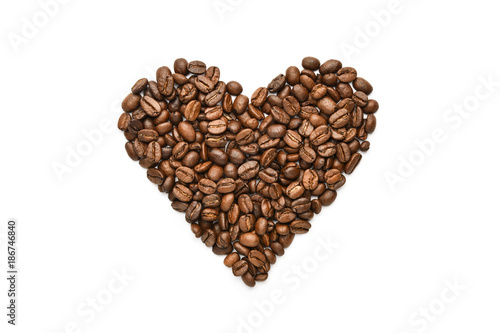 coffee heart on white background