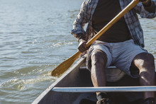 Midsection Of Man Rowing Boat ...