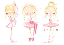 Beautiful Cute Ballerina Girl Set, Collection. Hand Drawn Watercolor Ballerina, Adorable Ballet Girl In Pink Dress And Flowers