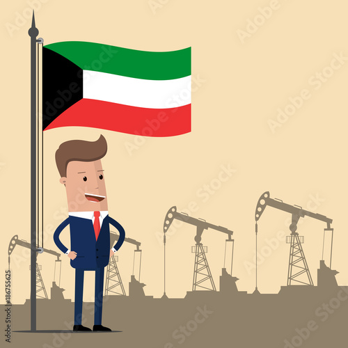 Businessman or politician under the flag of Kuwait against the