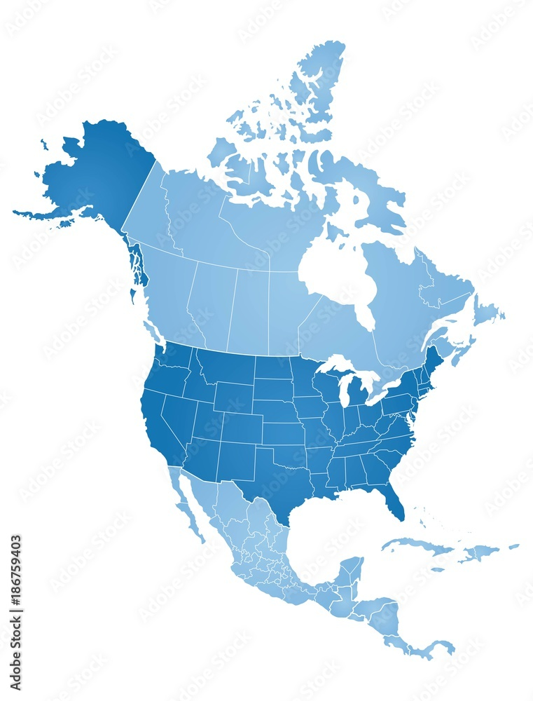 Fototapety, obrazy: Map of North America