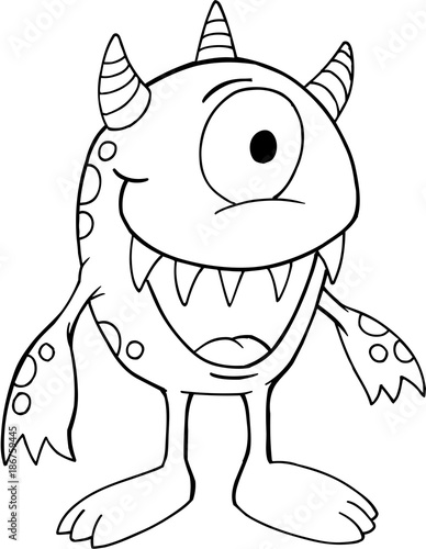 Staande foto Cartoon draw Cute Silly Monster Vector Illustration Art