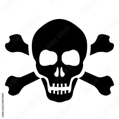 Canvas Print Skull and bones mortal symbol