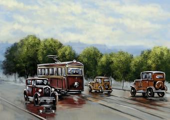 FototapetaOld tram, oil paintings landscape, city, retro car. Fine art.