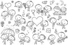 Happy Cartoon Couples In Love,...