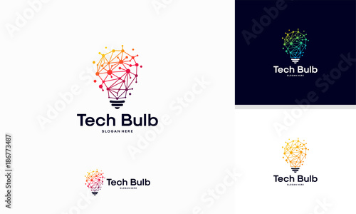 Fotografía  Modern Tech Bulb logo designs concept, Pixel Technology Bulb Idea logo template