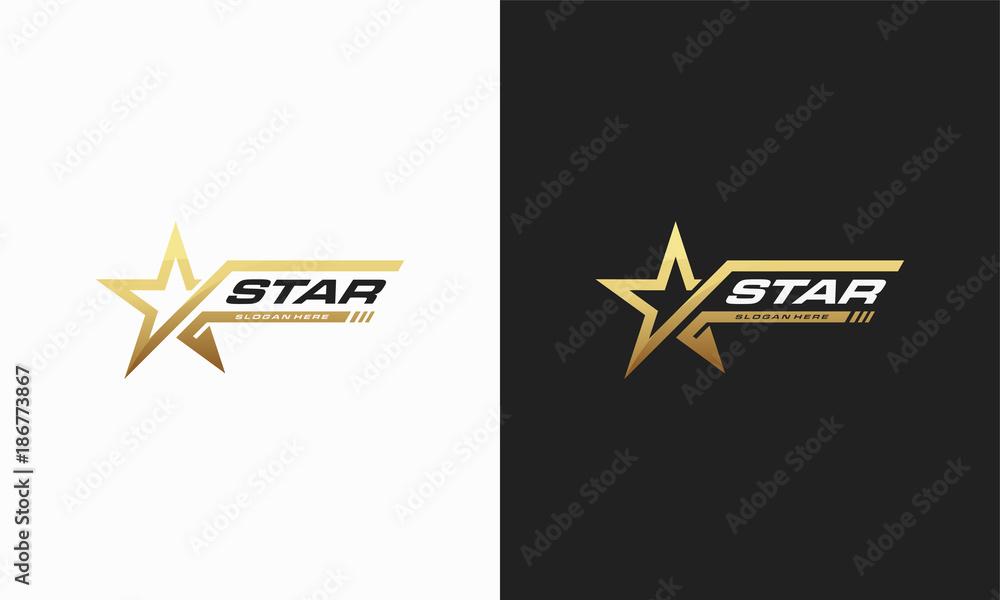 Fototapety, obrazy: Luxury Gold Star logo designs template, Elegant Star logo designs, Fast star logo designs concept