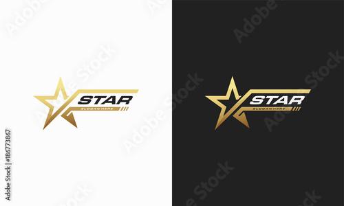 Fototapeta Luxury Gold Star logo designs template, Elegant Star logo designs, Fast star log