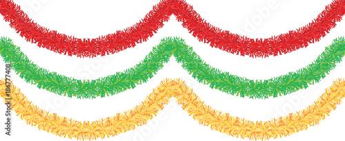 Obraz Christmas traditional decorations golden, pink, green tinsel. Xmas ribbon garland isolated decor element repeating border pattern set. - fototapety do salonu