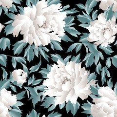 Panel Szklany Peonie Floral seamless pattern. Flourish garden background with flowers