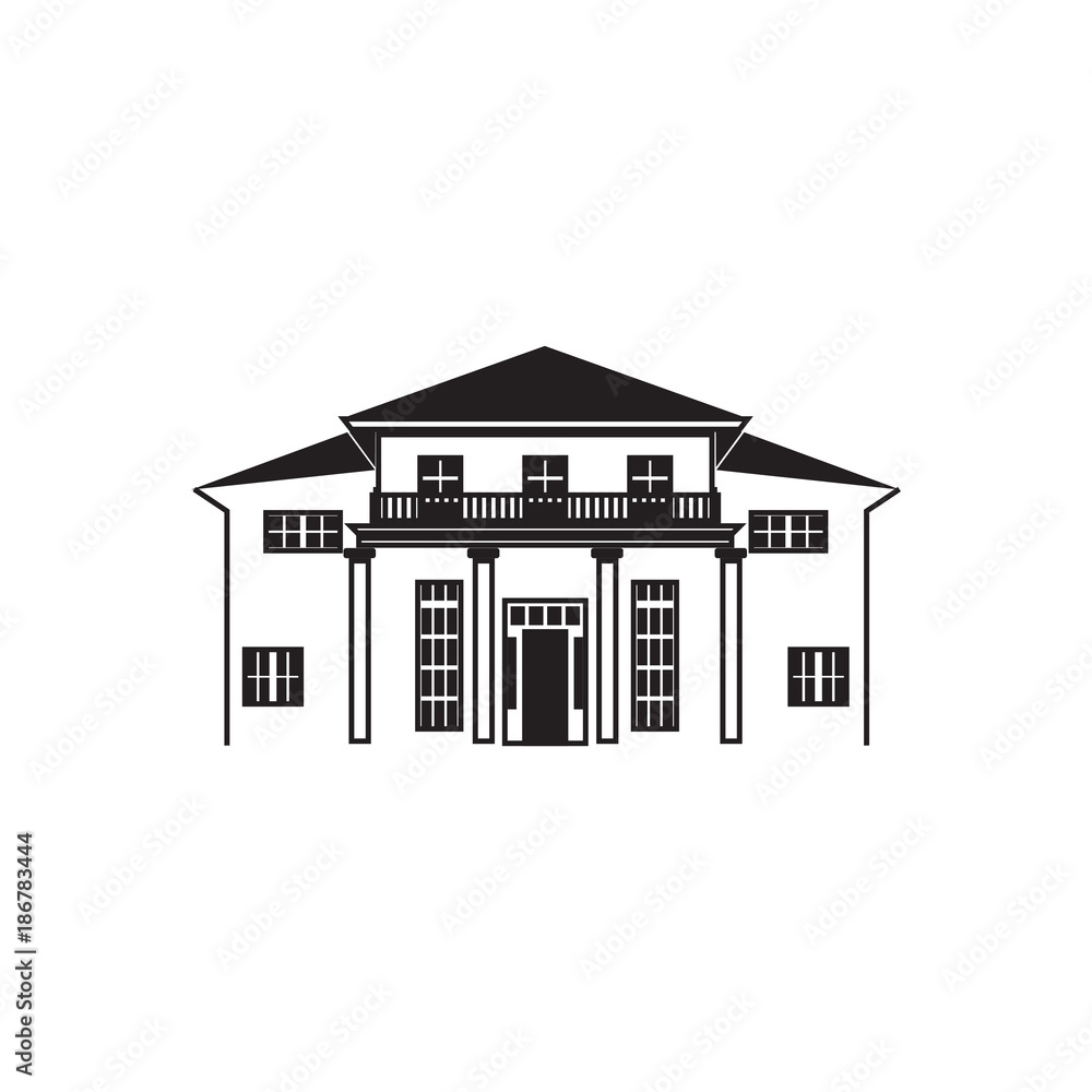 Fototapeta Mansion house line art