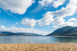 View of Okanagan Lake and mountains looking south from beach at Sun Oka Provincial Park