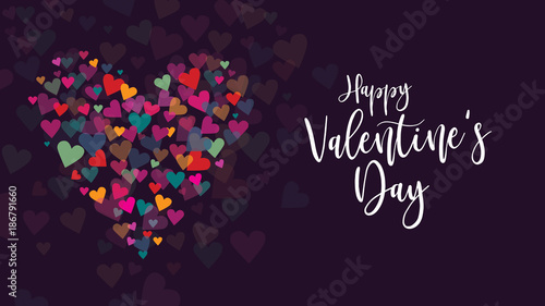 Vászonkép Happy Valentine's Day Vector Calligraphy with Colorful Hearts Illustration