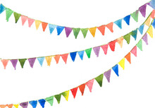 Colorful Bunting Flags On Whit...