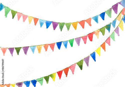 Fotografia  Colorful bunting flags on white background, watercolor hand painted on paper