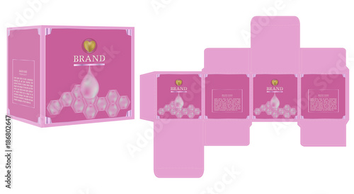 Packaging Design Sweet Pink Cosmetic Box Template And Mockup Ilration Vector