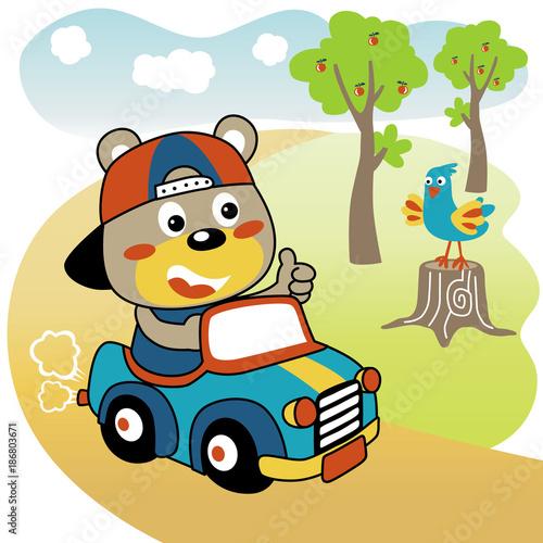 Staande foto Cartoon cars Funny driver car cartoon