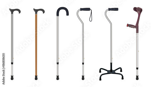 Canvastavla Set of walking sticks and crutches