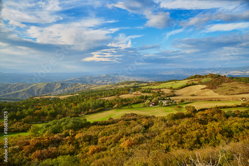 Foto op Aluminium Blauw Landscape of San Quirico d'Orcia, Tuscany, Italy