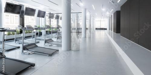 Fotografie, Obraz  Laufbänder im Fitness-Zenter, leer, Planung
