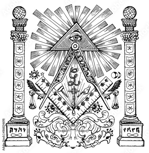 Graphic Illustration With Mason Mysterious Symbols Freemasonry And