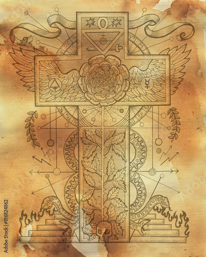 Scrapbook Design Background With Mystic Rose And Cross Symbols