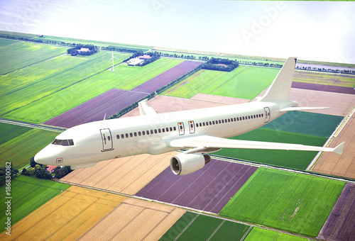 Papiers peints Avion, ballon White 3D aircraft flying above Dutch landscape