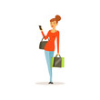 Young woman with shopping bags and phone, girl shopping in a mall colorful vector illustration