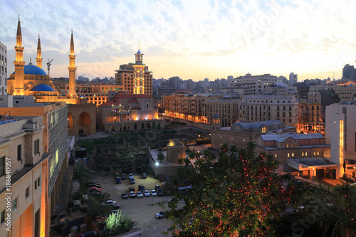 Tela Beirut, Lebanon : Downtown Beirut with its mosques and churches seen here at twilight