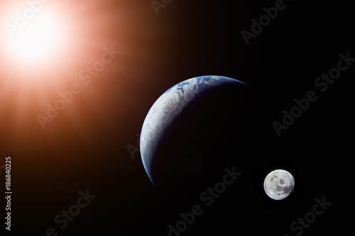 Tuinposter Nasa Landscape image of Sun, Earth and moon view from space. (Elements of this image furnished by NASA)