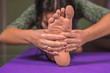 Yoga teacher does exercises yoga