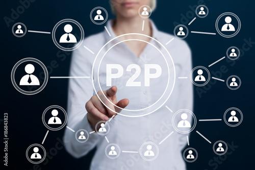 Photo Businessman press button peer-to-peer p2p icon.